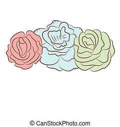 Greetings card with abstract rose flowers. Vector illustration.