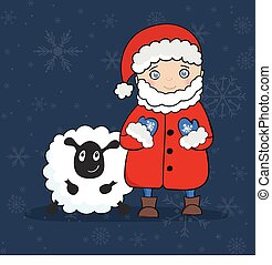 Vector illustration with Santa Claus and white Sheep...