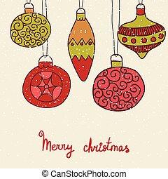 Christmas hand drawn decorative postcard with xmas toys,...