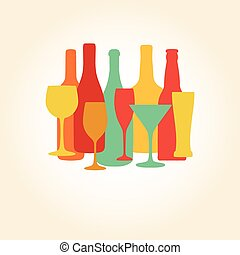 Alcohol Bottles and glasses pattern. Beer, champagne, wine ,...