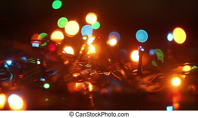colorful flashing christmas lights and reflection seamless...