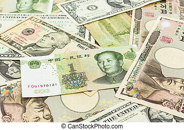 Colorful of World banknotes ,dollar,J apanese Yen,Chinese...
