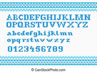 white knitting alphabet on red background - vector...