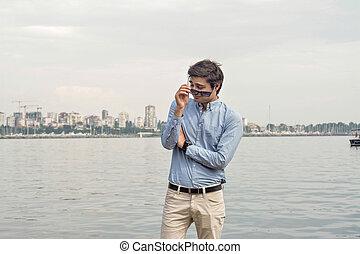 gafas de sol, mar, Plano de fondo, hombre de negocios,...
