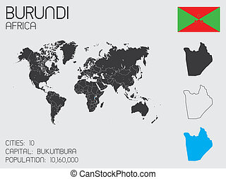 Set of Infographic Elements for the Country of Burundi - A...