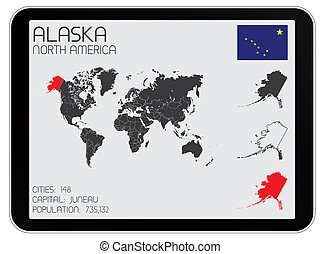 Set of Infographic Elements for the Country of Alaska - A...