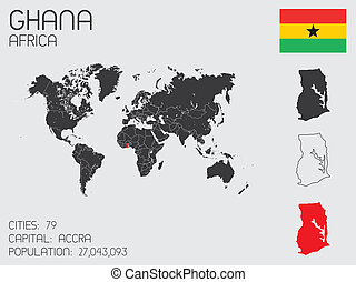 Set of Infographic Elements for the Country of Ghana - A Set...