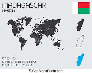 Set of Infographic Elements for the Country of Madagascar -...
