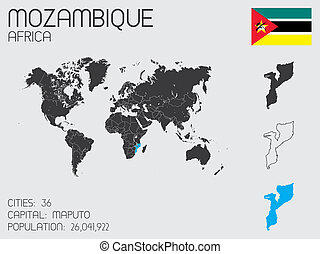 Set of Infographic Elements for the Country of Mozambique -...