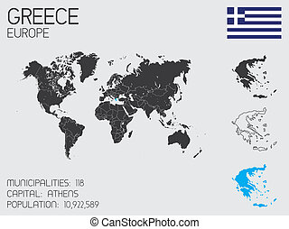 Set of Infographic Elements for the Country of Greece - A...