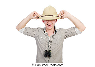 Man in safari hat in hunting concept