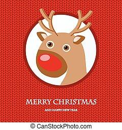 Christmas card with reindeer in Santa hat. Vintage vector...