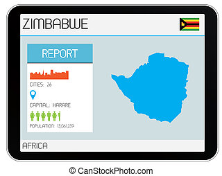 Set of Infographic Elements for the Country of Zimbabwe - A...