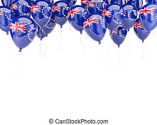 Balloon frame with flag of cook islands isolated on white
