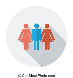 Group sex sign. Single flat color icon. Vector illustration.