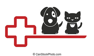veterinarian - sign for a veterinarian with cat and dog...