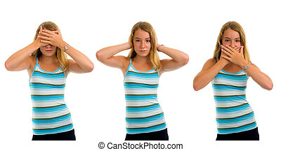three monkeys - three monkey, girl isolated on white...