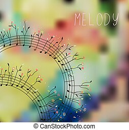 Musical background with note, flowers and abstract pattern