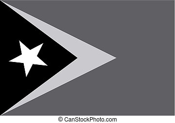Illustrated grayscale flag of the country of East Timor - An...