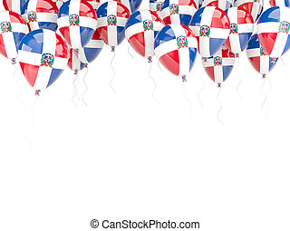 Balloon frame with flag of dominican republic isolated on...