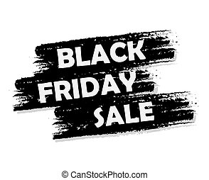 Black friday sale banner - text in black drawn label,...