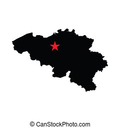 Capital City Highlighted with a Star on the Shape of the...
