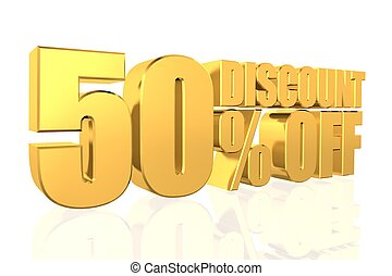 Discount 50 percent off 3D illustration