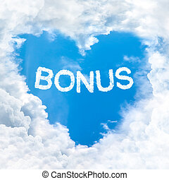 bonus word on blue sky inside love heart cloud form