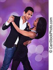 Romantic Multiethnic Couple Dancing - Romantic multiethnic...