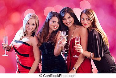Happy Women Enjoying At Nightclub