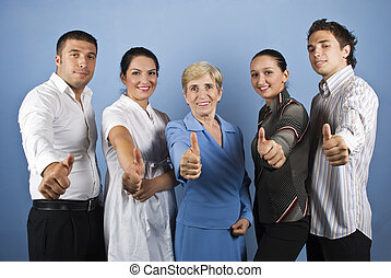 Group of people giving thumbs up - Group of happy business...