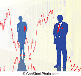 Traders and financial chart - Business people business men...