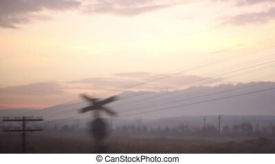 Railway Telegraph Poles - Early morning passing near...