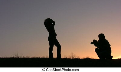 couple make photo sunset
