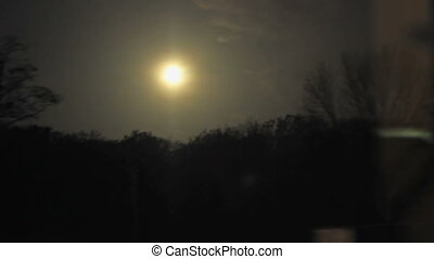 Night Landscape of Train - Full moon and dark nighttime...