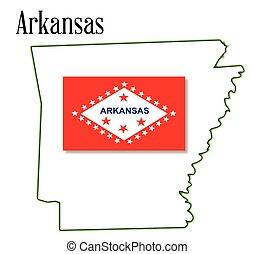 Arkansas - State map outline of Arkansas over a white...