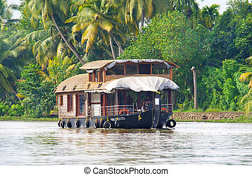 Traditional Indian houseboat in Kerala, India - Traditional...