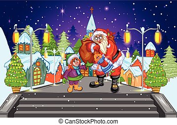 Santa with Gift at Christmas night - easy to edit vector...