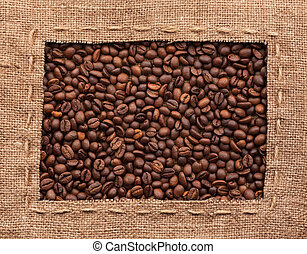 Frame made of burlap with coffee beans, an be used as a...