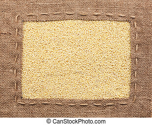 Frame made of burlap with millet, ?an be used as a...
