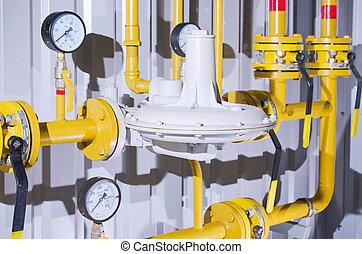 Gas pipe - Control valve or pressure regulator in oil and...