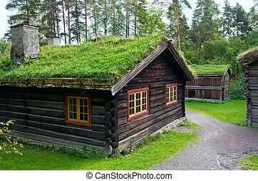 Traditional Norwegian House with grass roof. The Norwegian...