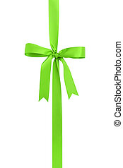 classic green ribbon bow for packaging gifts, isolated on...