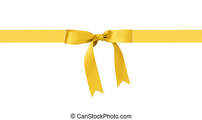 traditional yellow ribbon bow border, isolated on white