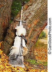 Sword near the tree.