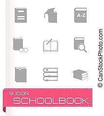 Vector schoolbook icon set on grey background