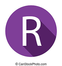 Illustration of a Letter with a Long Shadow - Letter R - A...