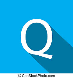 Illustration of a Letter with a Long Shadow - Letter Q - A...