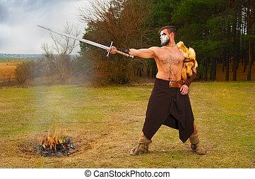krieger, uralt, Schwert, muskulös, Porträt
