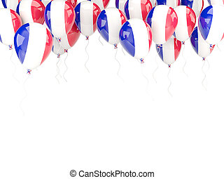 Balloon frame with flag of france isolated on white